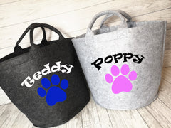 Personalised Grey Small or large Felt Dog Pet storage trug bag with Paw print
