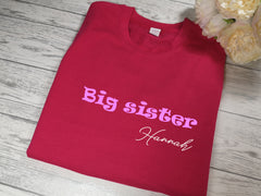 Personalised Kids Pink Big sister t-shirt with name detail