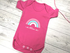 Personalised Rainbow Fuchsia pink Baby vest suit