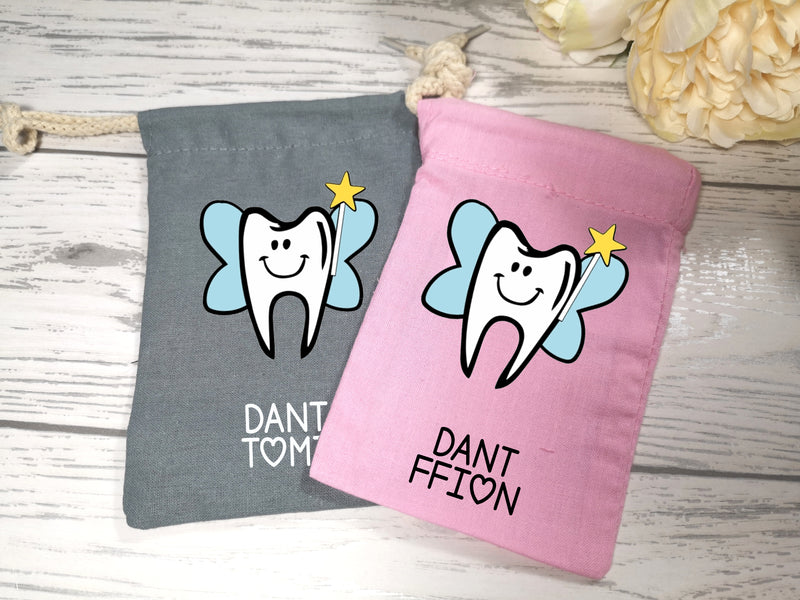 Personalised Welsh Tooth fairy mini sack bag add a name