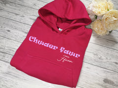 Personalised Kids Welsh Pink hoodie with Chwaer fawr name detail