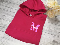Personalised Kids Pink hoodie with letter and name detail