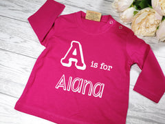 Personalised HOT PINK letter is for Name BABY long sleeve t-shirt