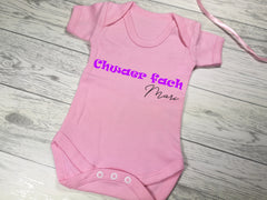 Personalised welsh Baby pink Chwaer fach Baby vest suit with name detail in a choice of colours
