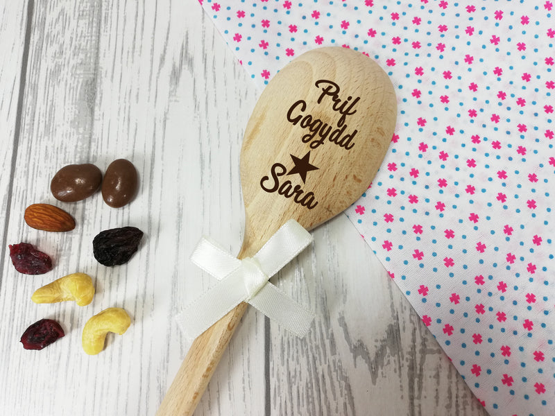 Personalised Engraved Welsh Prif gogydd Wooden Spoon Any name with or without ribbon