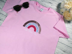Personalised Rainbow kids baby pink custom t-shirt