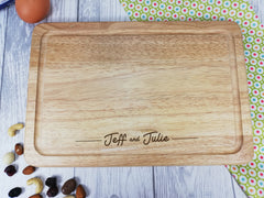 Personalised Engraved Rectangular Wooden Couple Chopping board Any name
