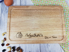 Personalised Engraved Rectangular Wooden G&T Gin Chopping board