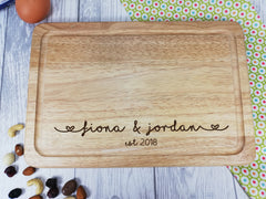 Personalised Engraved Wooden Chopping board Wedding Any Name and date