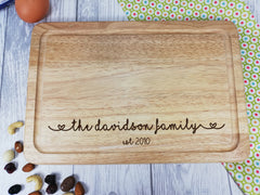 Personalised Engraved Wooden Chopping board Family Wedding Any Surname and date