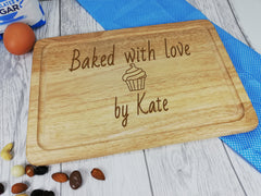 Personalised Engraved Wooden Chopping board baked with love Any Name Mum
