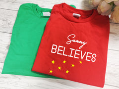 Personalised kids Christmas RED or GREEN t-shirt Name believes detail