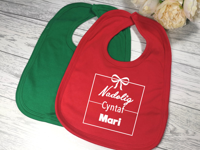 Personalised First christmas Welsh Bibs Nadolig cyntaf Name detail