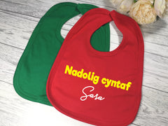 Personalised BABY First christmas Welsh Bibs Nadolig cyntaf Name detail