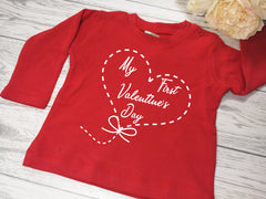 Custom Baby RED t-shirt First valentine's day heart detail in a choice of colours