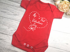 Custom RED Baby vest suit with First valentine's day heart detail