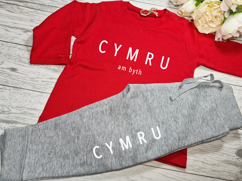 Custom Welsh BABY loungewear set RED t-shirt and Grey joggers with CYMRU am byth detail