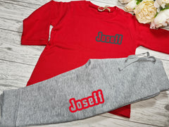 Personalised BABY loungewear set RED t-shirt and Grey joggers with name detail