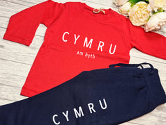 Custom BABY loungewear set RED t-shirt and Navy joggers with CYMRU am byth detail