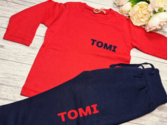 Personalised BABY loungewear set RED t-shirt and Navy joggers with bold name detail