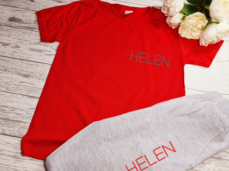 Personalised Welsh KIDS loungewear set RED t-shirt and greyy joggers with name detail