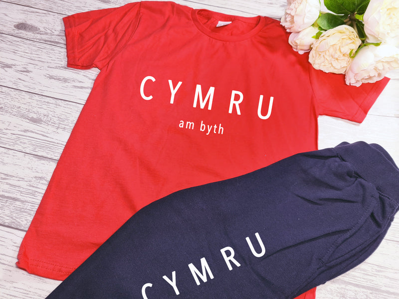 Custom KIDS loungewear set RED t-shirt and Navy joggers with CYMRU am byth detail