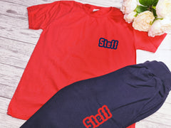 Personalised Welsh KIDS loungewear set RED t-shirt and navy joggers with name detail