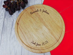 Personalised Engraved Wooden Round Couples Chopping Cheese board