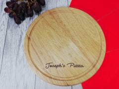 Personalised Engraved Wooden Pizza name Round Chopping board