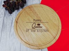 Personalised Engraved Wooden Queen of the kitchen Round Chopping Cheese board