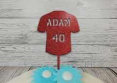 Personalised wooden birthday Rugby Football Shirt cake topper Any name Age