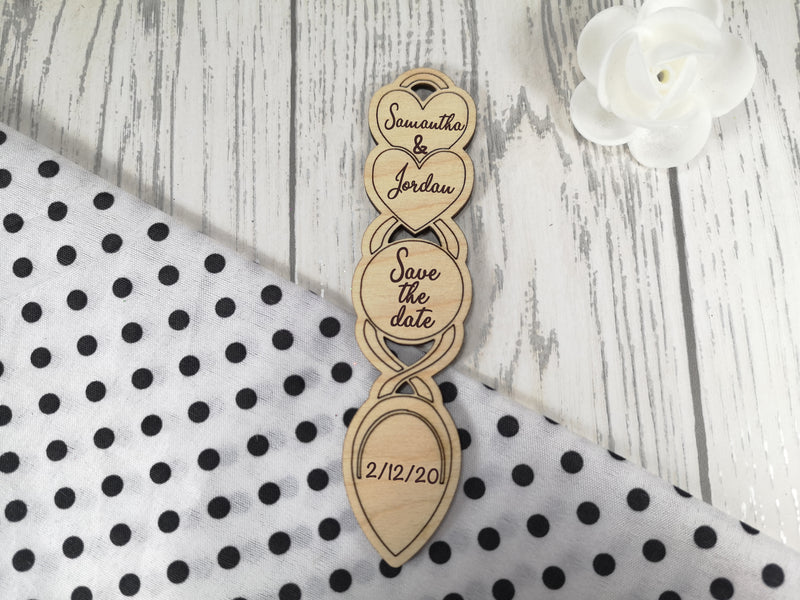 Personalised Engraved Wedding Save the date Love spoon