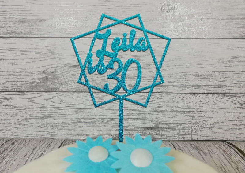 Personalised Wooden Glitter abstract birthday cake topper Any name Age 16th 21st