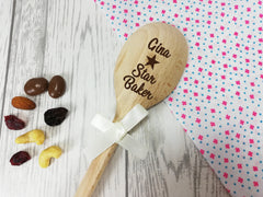 Personalised Engraved Star Baker Wooden Spoon Any name with or without ribbon