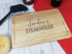 Personalised Engraved Wooden Rectangle steakhouse Chopping board Any Name