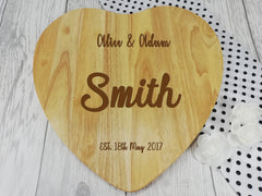 Personalised Engraved Wooden Heart Chopping board Wedding Gift Any Name Date