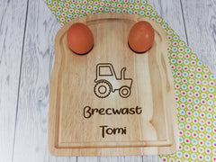 Personalised Engraved Welsh Tractor Wooden Toast Shaped egg breakfast board Any Name