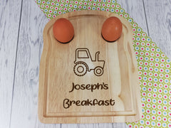 Personalised Engraved Tractor Wooden Toast Shaped egg breakfast board Any Name