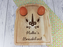 Personalised Engraved Unicorn Wooden Toast Shaped egg breakfast board Any Name