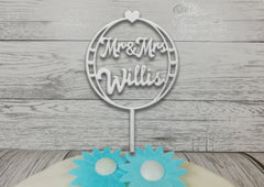 Personalised wooden Wedding Circle Hearts cake topper
