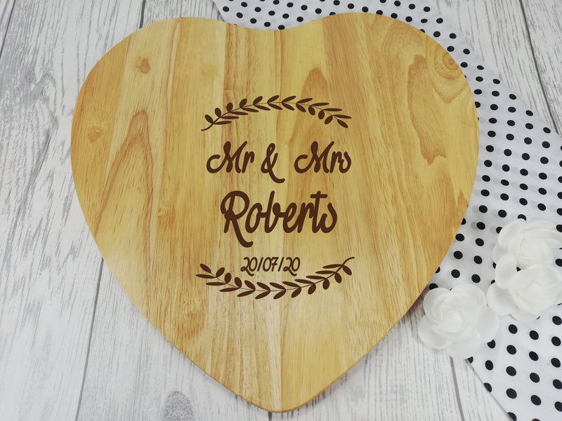 Personalised Engraved Wooden Heart leaf Chopping board Wedding Gift Any Name Date