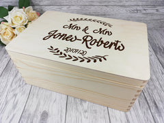 Personalised engraved Wedding Leaf Surname keepsakes Memory box 30cm with handles Card box Any Name