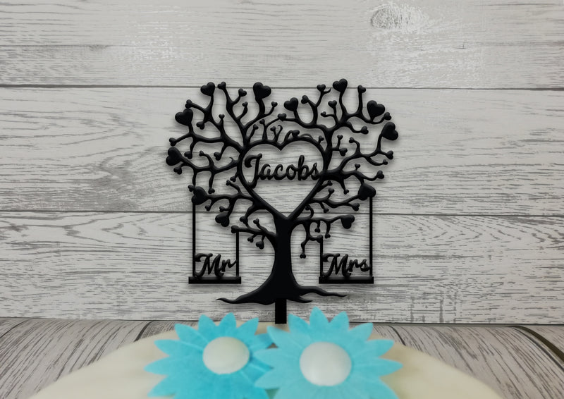 Personalised wooden Wedding Tree cake topper