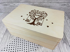Personalised engraved Wedding Tree Surname keepsakes Memory box 30cm with handles Card box Any Name