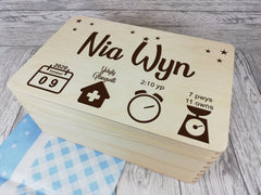 Personalised Welsh Baby Icon keepsakes Memory box 30cm with handles Name Birth Date Weight Time