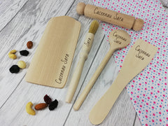 Personalised Engraved Wooden Welsh Children's Baking Set Cacennau Any Name