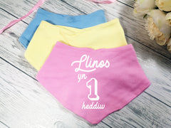 Personalised Welsh Baby Birthday 1 heddiw Name Bandana Bibs
