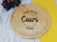 Personalised Engraved Wooden Round Chopping Welsh Caws cheese hands off board Any Name
