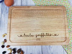 Personalised Engraved Welsh Wooden Chopping board Family Teulu Wedding Any Surname and date