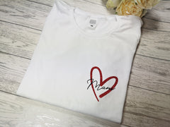 Personalised Women's White t-shirt with glitter heart and Name